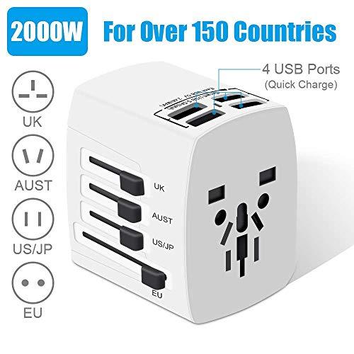 Reiseadapter EU USA, Reisestecker, 2000W Stromadapter mit 4 USB AC Steckdose, Föhn Reiseadapter für UK, EU, Thailand, Kanada, Japan,Australien über 200 Ländern, Weiß