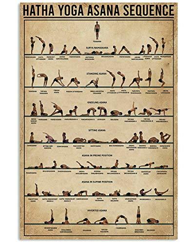 TammieLove Póster de secuencia de Hatha Yoga Asana para decoración de pared, regalo para Yogaer, decoración de pared, póster de metal, 30,4 x 40,6 cm