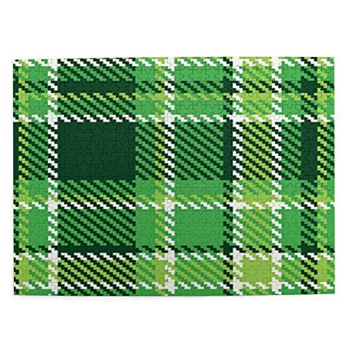 Adulto 500 Piezas Juego de Rompecabezas A cuadros, mosaico de azulejos británicos irlandeses a la antigua en colores verdes vibrantes, verde lima Juguetes Educativos Para Niños Decoración hogareña