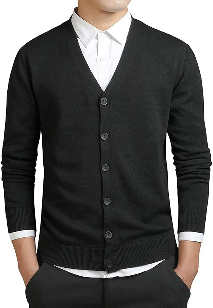 WPYYI Spring Long Sleeve Cardigan Men Knitted Oversized Slim Cotton Sweaters Casual Knitwear (Color : Black, Size : L Code)