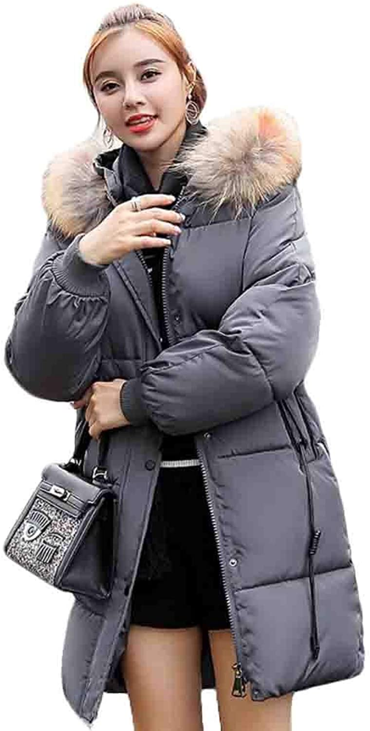Omniscient Womens Hooded Thickened Long Down Jacket Down Parka Puffer Coat Outwear