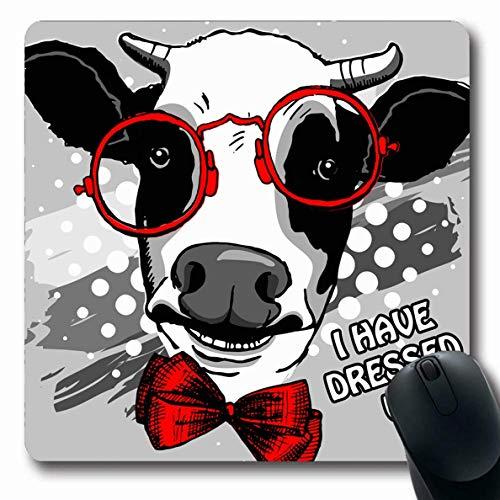Mousepad Oblong Pen Rote Hand Kuh Bogen Brille Tiere Wildtiere Menschen Vieh Zeichnung Farbe Affable Kleidung Bestien Rutschfeste Gummi Mauspad Büro Computer Computer Laptop Spielmatte