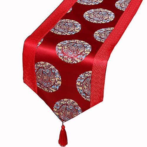 TAOtTAO_Sticker Brocado Mesa De Comedor Mesa Festiva Bandera Mantel Planta Flor Saten Rico Cama Bandera Convencional Granada roja