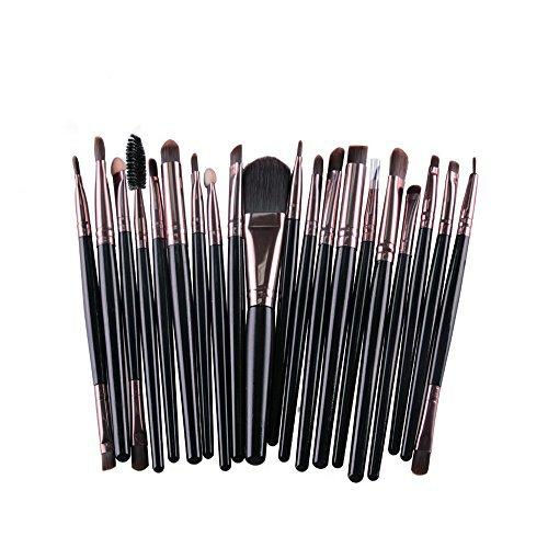 DaoRier Lot de 20 Professionnel Cosmetiques Maquillage Brush Set Brosse Pinceau de Maquillage Brosse de Maquillage pour Les Yeux Ombre Café