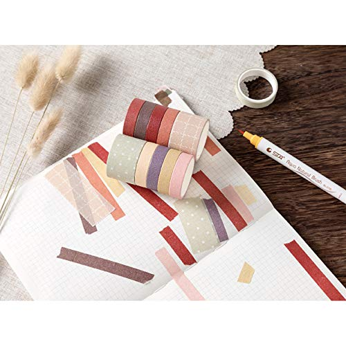 10 Rolls Vintage Washi Tape Set, EnYan Japanese Masking Decorative Tapes for DIY Crafts and Arts Bullet Journal Planners Scrapbooking Adhesive
