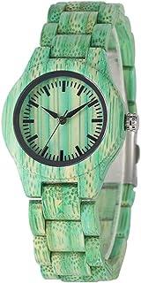 CAIDAI&YL Reloj de Madera para Mujer Minimalista Negro Pantalla analógica Reloj de Pulsera de Pulsera de Madera para Mujer...