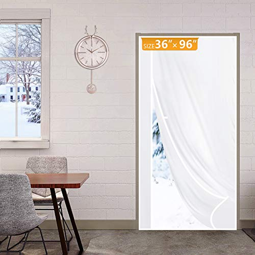 Yotache Magnetic Thermal Insulated Door Curtain Fits Door Size 36 x 96, Reversible Left Right Side Opening Plastic TPU Magnet Front, Kitchen, Upstair Door Covers Warm Winter Cool Summer, White
