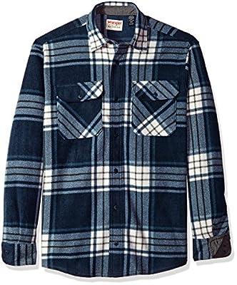 Wrangler Authentics Men's Long Sleeve Plaid Fleece Shirt, Total Eclipse, XL