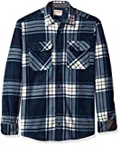 Wrangler mens Long Sleeve Plaid Fleece Jacket Button Down Shirt, Total Eclipse Plaid, Medium US