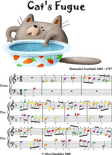 Cat's Fugue Easy Piano Sheet Music with Colored Notes