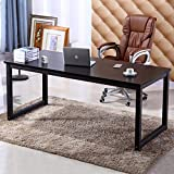 NSdirect 63' X-Large Computer Desk, Has Wide Workstation Tabletop for Writing,Games and Home Work,Modern Home Office Desk&Dining Table Made of The Finish Wood Board and Sturdy Steel Legs (Black)