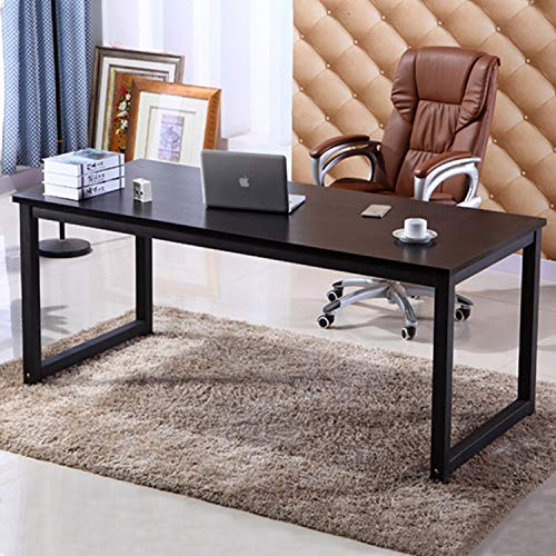 "NSdirect 63"" Computer Desk,Large Home Office Desk Wide Workstation 1"" Thicker Tabletop for Writing,Gaming and Home Work PC Desk Modern Finish Wood Board and Sturdy Steel Legs,Black"