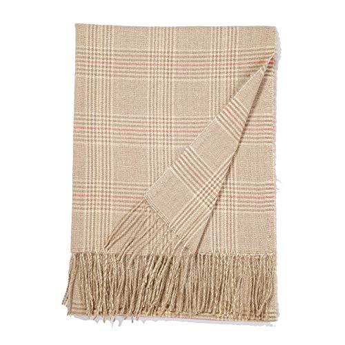 Bufanda de cachemir de imitación otoño e invierno para mujer versión coreana de la bufanda a cuadros salvaje chal cálido-Beige_200cm