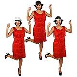Disfraz de lujo para mujer de los años 20 con flecos rojos y sombrero de triatlby negro con banda blanca, tamaño mediano