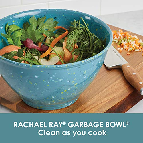 Rachael Ray Accessories Kitchen Pantryware Multi Purpose/Salad Serveware/Melamine Garbage Bowl, 4 Liters, Agave Blue