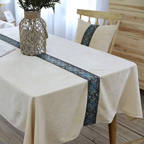 Epinki Mantel Bordado Medio de Franela de Color Liso Blanco Beige Mantel Poliéster para Fiestas, Bodas, Cocina, Resistente A Las Arrugas Tamaño 130x130CM