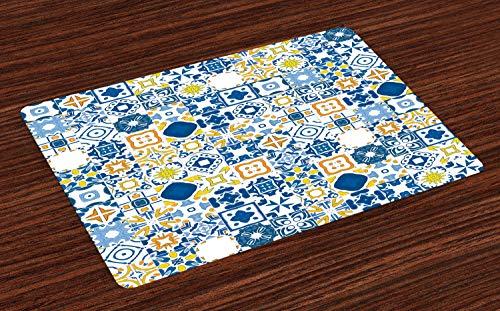 ABAKUHAUS Gelb und Blau Platzmatten, Mosaik-portugiesischer Azulejo-Mittelmeer Arabesque-Effekt, Tiscjdeco aus Farbfesten Stoff für das Esszimmer und Küch, Violettblau Senf Weiß