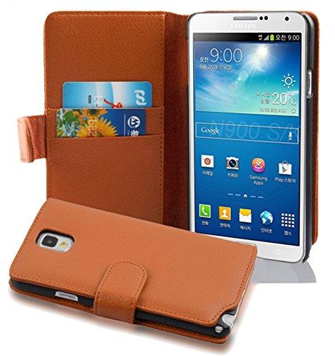 Cadorabo Samsung Galaxy Note 3 Custodia di Libro di Finta-Pelle Struttura in Marrone Cioccolata – con Vani di Carte e Chiusura Magnetica – Portafoglio Cover Case Wallet Book Etui Protezione