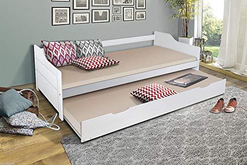 Funktionsbett 90x200 Massiv Holz Weiss Ausziehbar Bett Jugendbett 90x200 cm