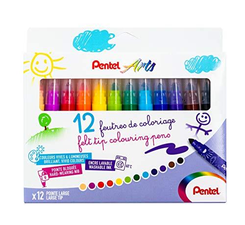 Pentel SCS3E Feutres de Coloriage Enfants à Encre Ultra-Lavable et Pointe Large - Couleurs Assorties - x12 Couleurs