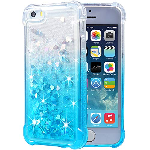 Flocute iPhone 5 5s SE Case, iPhone 5s Glitter Case Gradient Series Bling Sparkle Floating Liquid Soft TPU Cushion Luxury Fashion Girly Women Cute Case for iPhone 5 5s SE (Gradient Teal)