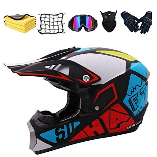 AGVEA Casco de moto de cross Country, casco de motocross, casco integral...
