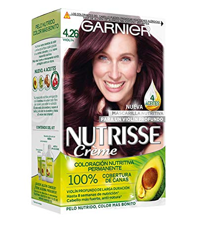 Garnier Nutrisse Creme Coloración Nutritiva Permanente, Tinte 100% Cobertura de Canas con Mascarilla Nutritiva de 4 Aceites - Tono 4.26 Violín