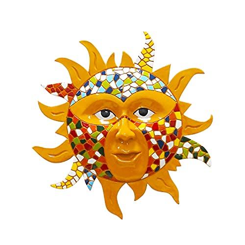 Liffy Décor de mur de soleil Statue de résine extérieure Décorations de sculpture suspendues colorées pour jardin ou salon, chambre à coucher