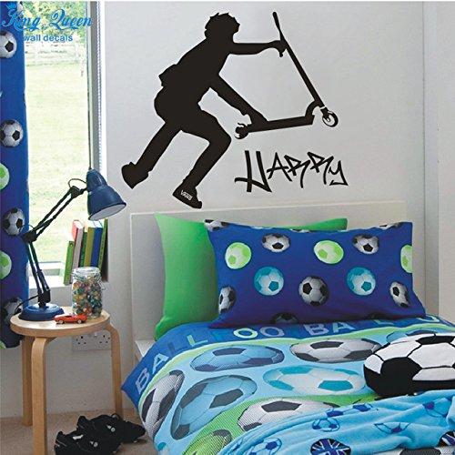 2016nuevo extra grandes Scooter Stunt personalizado pared vinilo adhesivos pegatinas decoración del hogar stikers para pared decoración niños pegatinas de pared DIY
