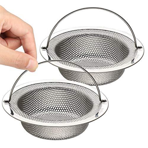 """Sandiyago 2 Pezzi Filtro per lavello da cucina - Tappo per lavandino in acciaio inox con maniglia - 4,37""""/11,1cm (Grande)"""
