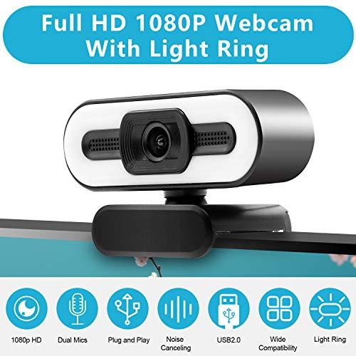 Webcam 1080P HD Einstellbarer Leuchtring Eingebaut mit Stereomikrofon, Plug and Play USB Webcam für Telekonferenzen, Zoom, Skype, Facetime, Kompatibel mit Windows, Android, MacOS, etc.
