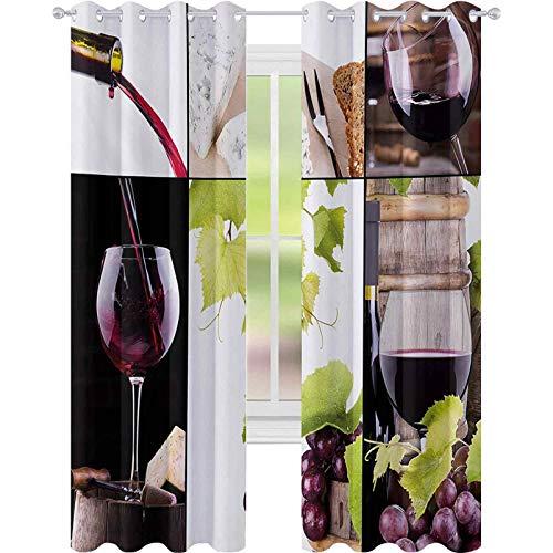 Cortinas opacas, collage de vino con botella de barril de vino vino gourmet sabor bebida, 52 x L95 panel de cortina de ventana para dormitorio, burdeos verde pálido blanco