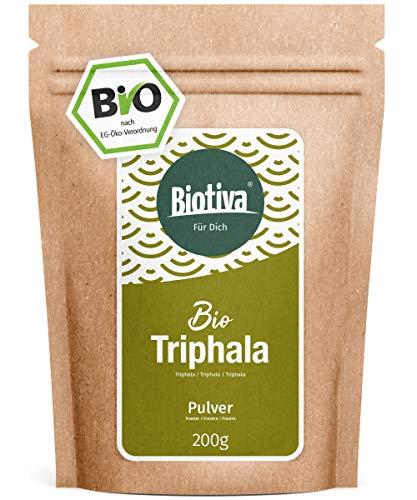 Triphala Pulver Bio - 200g - aus Amalaki, Haritaki, Bibhitaki - Ayurveda Biotriphala - Abgefüllt und Kontrolliert in Deutschland (DE-ÖKO-005) - 100% Vegan