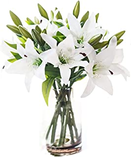LNHOMY Artificial Lily Latex Real Touch Flowers Fake Full Bloom Flowers with 3 Heads for Home Wedding Party Decor,Pack of ...