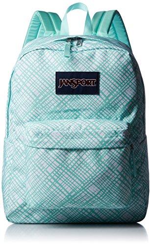 JanSport Womens Classic Mainstream Superbreak Backpack - Aqua Dash Jagged Plaid / 16.7' H X 13' W X 8.5' D