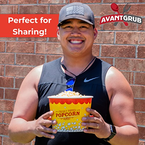 Product Image 8: Leakproof, Super Durable 85oz Popcorn Buckets 3 Pack. Grease-Proof Disposable Pop Corn Tubs With Cool Design Are the Ultimate Movie Theater Accessory. Large Containers Great for Any Party or Event