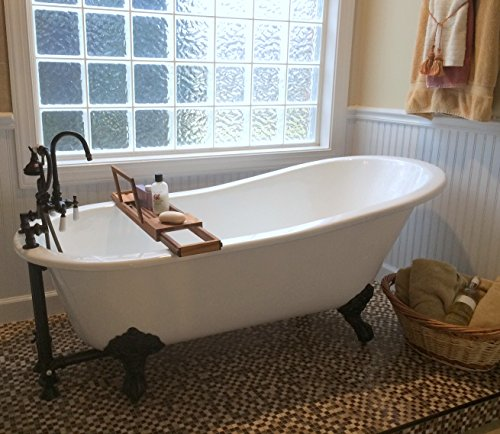 """67"""" Cast Iron Slipper Tub with 7"""" Faucet hole Drillings & Oil Rubbed Bronze Feet-""""Clay"""""""