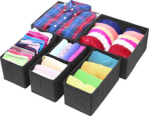 Simple Houseware Foldable Cloth Storage Box Closet Dresser Drawer Divider Organizer Basket Bins for Underwear Bras, Black (Set of 6)