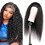 24 inch Headband Wigs Human Hair for Black Women Deep Curly Human Hair Wig Glueless wig with headband attached None Lace Front Wigs 9A Brazilian Remy Hair