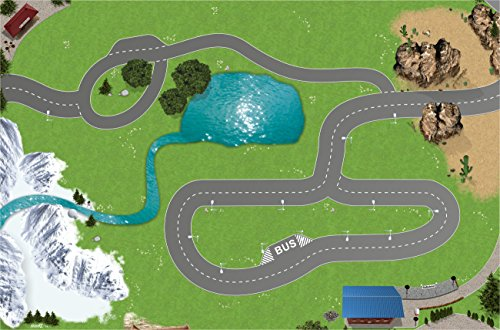 Eisenbahn Spielmatte (ähnlich Spielteppich) | SM13 | Hochwertige Spiel-Matte für das Kinder-Zimmer | ideales Zubehör zu Spiel-Figuren von Schleich, Playmobil, Papo, Bullyland & Co | 150 x 100 cm | STIKKIPIX