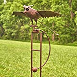 Zaer Ltd. Large Rocking Animals with Flapping Wings Garden Stakes (Flying Owl, Rust Brown)