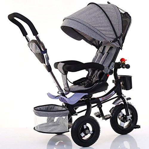 Peaceip Kinderdriewieler Opvouwbare Fiets Baby Voet Kinderwagen 1-6 Jaar Oude Titanium Lege Wiel Kleur Auto Frame
