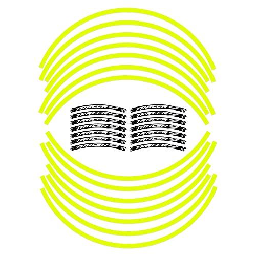 Tiras adhesivas para llantas de moto compatibles con Yamaha Tracer 9 2021 – Amarillo fluorescente