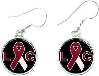 Laryngeal Cancer Awareness Red Ribbon Silver Hook Wire Earrings Jewelry Gift