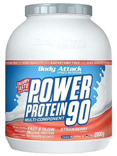 Body Attack Power Protein 90, Strawberry, 2 kg, 5K Eiweißpulver mit Whey-Protein, L-Carnitin und BCAA für Muskelaufbau und Fitness