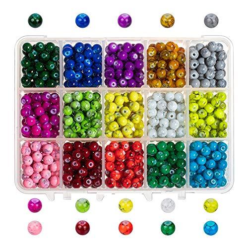 PandaHall 975pcs 6mm Perline di Vetro Drawbench, 15 Perle di Vetro Tondo in Vetro Murano per La Creazione di Gioielli con Bracciale