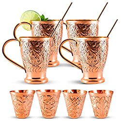 embossed copper moscow mule mug set of 4 with 4 copper straws