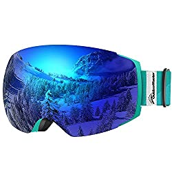 OutdoorMaster ski goggles Pro for women & men, snowboard goggles with magnetic change system, OTG snow goggles, ski goggles (blue-green belt VLT 15% blue glasses & protective cover)