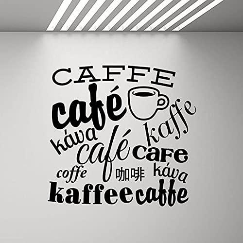 Kjlfow Calcomanía de Pared de café, Pegatina Art Deco de Vinilo para Pared, póster de Cocina, calcomanía de café en Diferentes Idiomas, 84x80cm