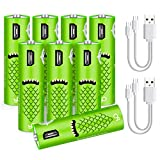 USB Rechargeable AA Batteries,1000 mAh AAA Batteries with USB Ports - High-Capacity Batteries Long-Lasting Power Recyclable Recharge Battery -8pack